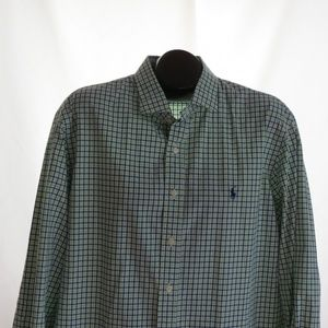 Polo Ralph Lauren Green Navy Cotton Shirt XXL